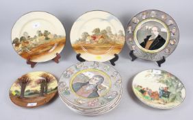 Fourteen Royal Doulton character and landscape plates, various, and two Radford floral decorated