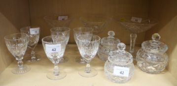 Three Waterford crystal sweetmeat stands, six port glasses and three moulded glass trinket jars