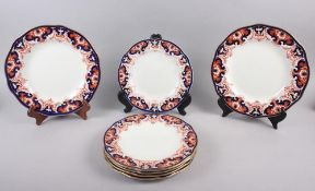 "A pair of Royal Crown Derby Imari pattern dinner plates, 10"" dia, and five matching dessert plates"