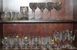 "A Waterford ""Lismore"" part table service, including hocks, brandies, ports, five white wine glasses,"