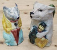 "Two French late 19th century character jugs, 9"" high max"