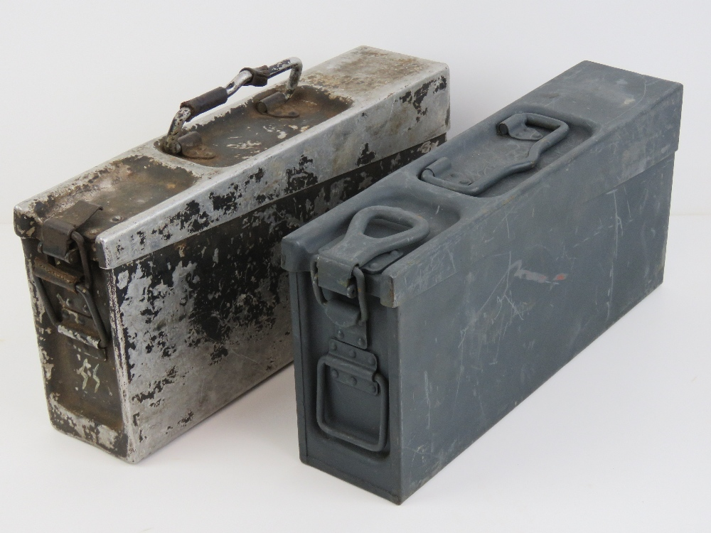 Lot 87 - Two German ammo tins, one in aluminium, one steel.
