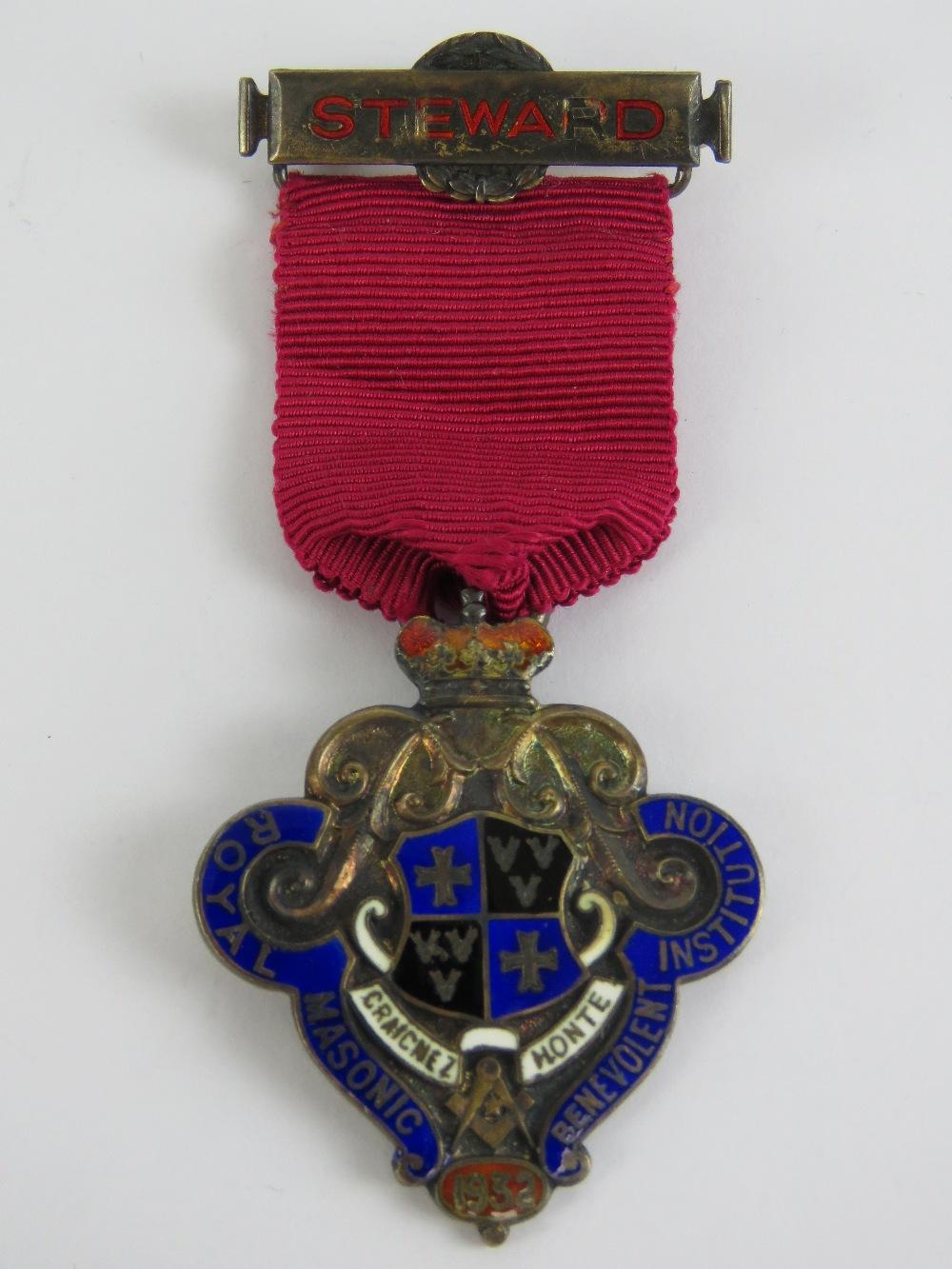 Lot 46 - Masonic; A Royal Masonic Benevolent Institution 1932 HM silver and enamelled jewel,