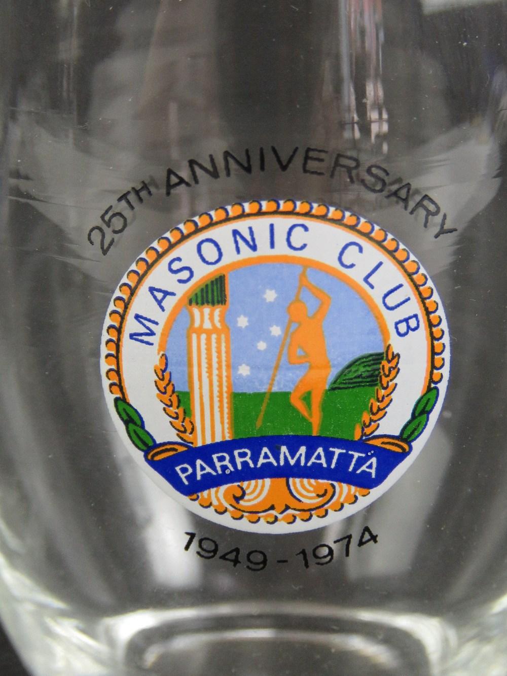Lot 58 - Masonic; A quantity of Masonic mugs and glassware including 25th Anniversary, Ladies Night,