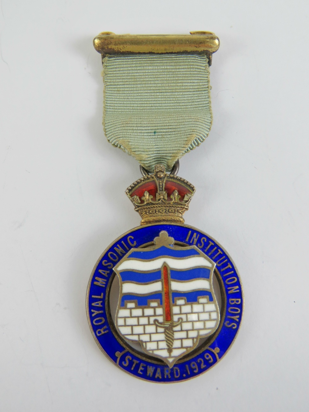 Lot 50 - Masonic; A HM silver and enamel Royal Masonic Institution Boys (Steward 1929) jewel medal.
