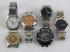 Three stainless steel Lorus wristwatches