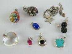 Two millefiori glass teardrop pendants t