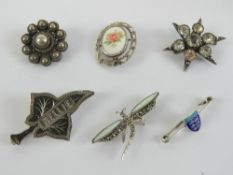 An enameled HM silver Jersey pin, togeth
