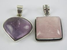A 925 silver and Amethyst inverted teard