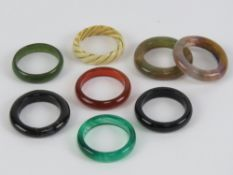 Seven hard stone rings inc carnelian and