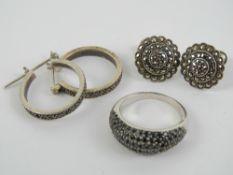 A pair of silver marcasite hoop earrings