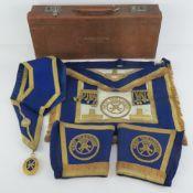 Masonic; A leather regalia case presented to W.Bro.T.E.