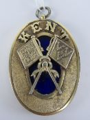 Masonic; a HM silver Standard Bearer collar jewel for Kent, having central blue enamel panel,