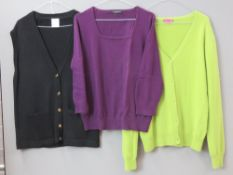 Ladies jumpers inc cashmere, pure new wool, leopard print by Hobbs, etc. Approx UK size 14-16.