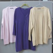 Woolovers cardigans, eight items being cotton and cashmere blends, some in need of de-bobbling.