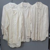 "Four pure silk mens shirts; R Tyson Dublin (x 3) one marked 16 1/2"" collar,"