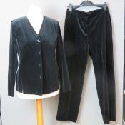 A Finnish made ladies velvet jacket and trousers by Karelia, 100% cotton, UK size 12.