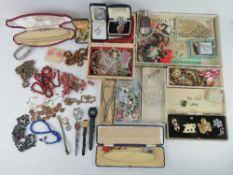 A box of costume jewellery and watches including; mens Sekonda watch head,