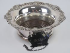A HM silver sherry decanter label, hallmarked Sheffield,