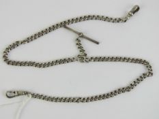 A HM silver watch chain having two clasps and T-bar upon, hallmarks throughout, 32g.