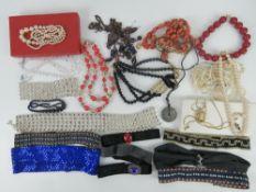 A quantity of vintage jewellery inc a Trafari pendant with Trafari chain,