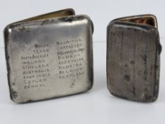 Two HM silver cigarette cases, one with nickel inserts hallmarked Birmingham 1911,