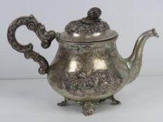 A late 19th / early 20th century Dutch silver teapot having lion passant second mark for minimum