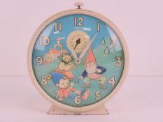 A Smiths Noddy alarm clock c1960s having 'nodding' Noddy to the 10cm dial.