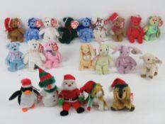 Ty Jingle Beanies, miniature bear Christmas tree decorations; '1997 Holiday' (x2), '1998 Holiday',