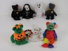 Ty Beanie Babies/Beanie Bears; Halloween themed 'Haunt' (x2), 'Quivers', 'Frankenteddy', 'Sheets',