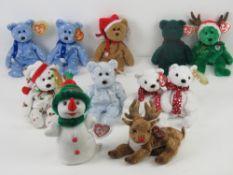 Ty Beanie Babies/Beanie Bears; Christmas themed bears being 1997 Teddy, 1998 holiday Teddy,
