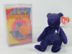 Ty Beanie Babies/Beanie Bears; a rare Indonesian made bear, Princess in plastic case with tag.