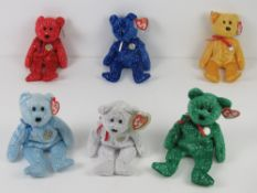 Ty Beanie Babies/Beanie Bears; Six 10 year anniversary 'decade' bears in different colours,