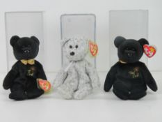 Ty Beanie Babies/Beanie Bears; The Beginning (2000 edition) and The End (x2).