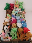 A large collection of Ty Beanie Bears/Beanie Babies all with tags; 'Hero' (x3), 'Mellow' (x3),