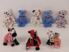 Ty Beanie Babies/Beanie Bears; American themed 'Righty' and 'Lefty' 2000 edition with tags,