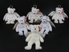 Ty Beanie Babies/Beanie Bears; 'Halo' x 3 (two with tags, one without), 'Halo II' with tag,