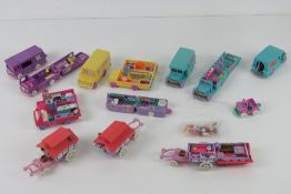 Polly Pocket; c1990s a quantity of vehicles inc three florists trucks, two school buses, campervan,