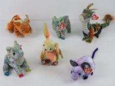 Ty Beanie Babies/Beanie Bears; Zodiac edition 'Dragon', 'Rat', 'Rabbit', 'Ox' and 'Goat' (x 2).