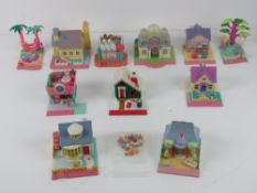 Polly Pocket; a quantity of c1990s buildings with front pavement including houses and shops.