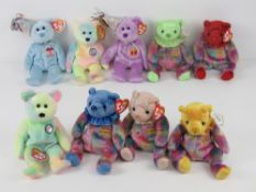 Ty Beanie Babies/Beanie Bears; Birthday Bear one with tag, one with loose tag,