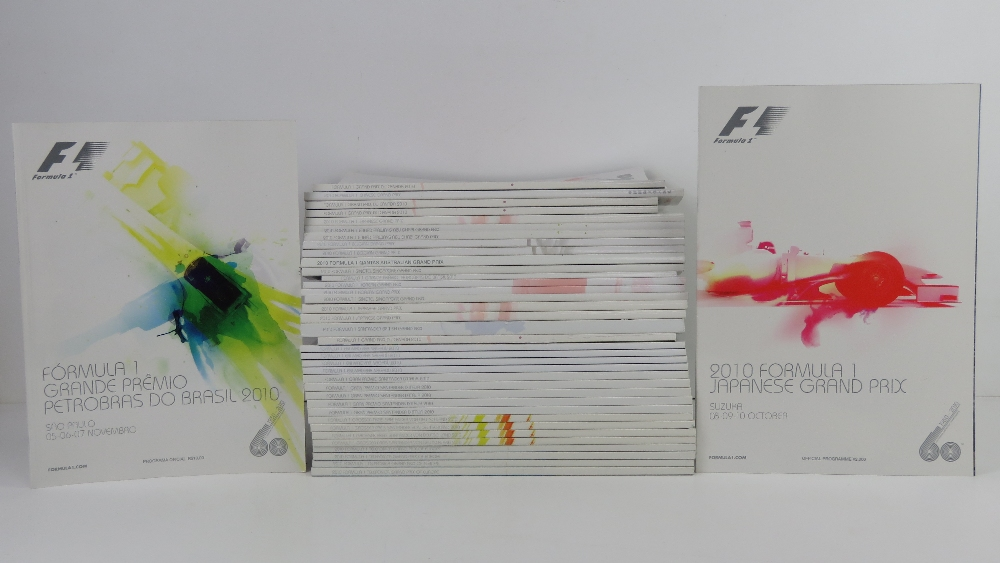 A large quantity of assorted Formula 1 race programmes for 2010.