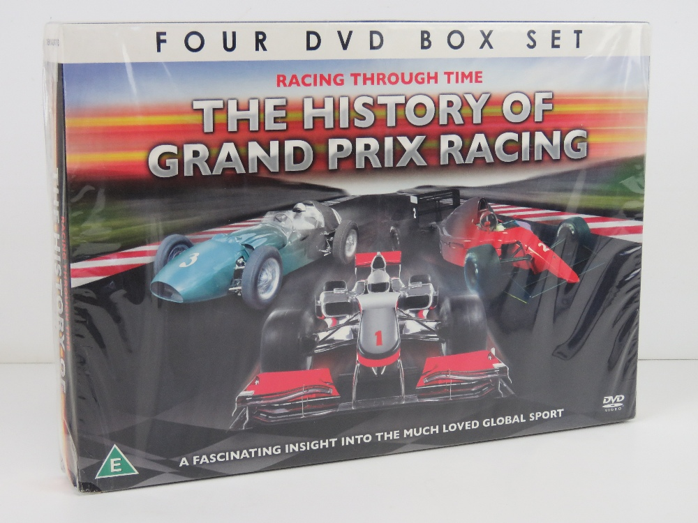 DVD box set Racing Through Time 'The History of Grand Prix Racing', in plastic wrap.