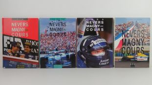 Nevers Magny Cours. 1992, 1993, 1995, and 1996 editions. French text hardcover books.