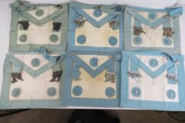 Masonic; Six lambskin aprons, various co