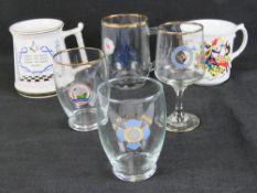 Masonic; A quantity of Masonic mugs and glassware including 25th Anniversary, Ladies Night,