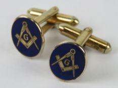Masonic; a pair of blue enamelled cuffli