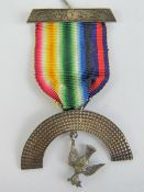 Masonic; A sterling silver Royal Arc Mariners dove and rainbow medal jewel.