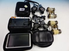 FIVE PAIRS OF OPERA GLASSES TOGETHER WITH A GARMIN NUVI.