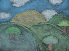 20th/21st.C.NAIVE SCHOOL. TWO LANDSCAPES AND AN ANIMAL STUDY, COLOUR CHALKS, SIZES VARY, LARGEST 25
